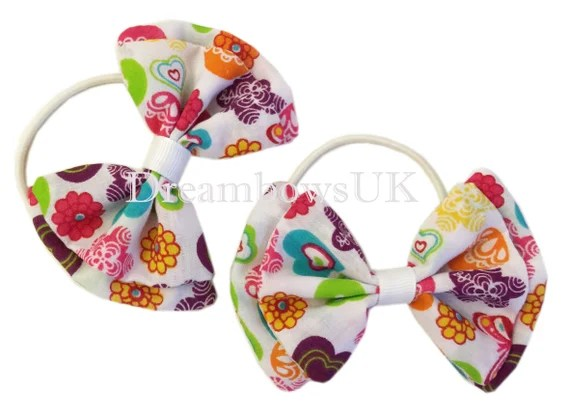 Heart Design Fabric Hair Bows With Tie