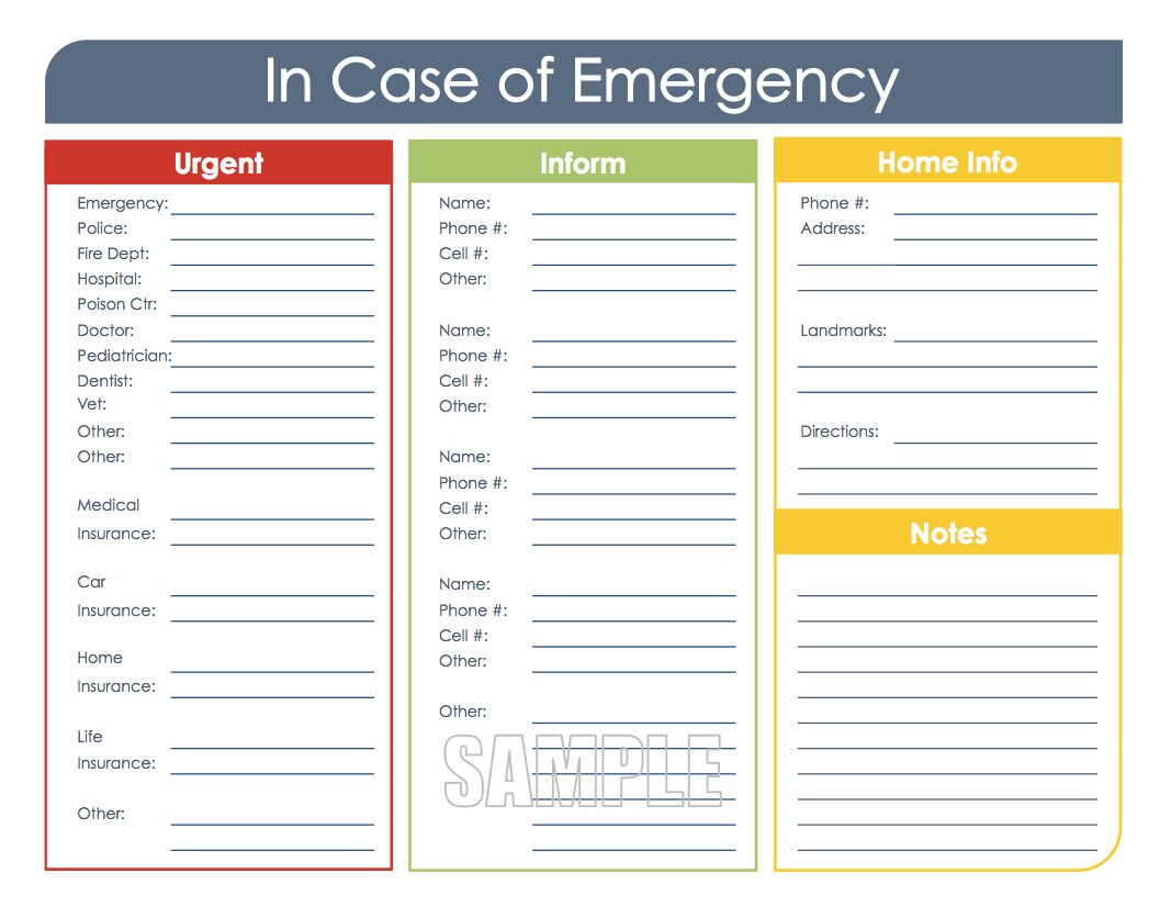 In Case Of Emergency Printable Organizing Instant