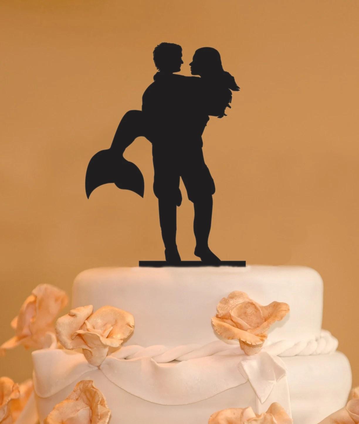Man Holding A Mermaid Wedding Cake Topper Mermaid Wedding