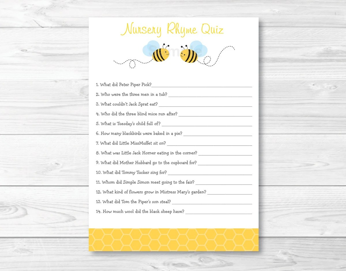Cute Bumble Bee Nursery Rhyme Quiz Bumble Bee Baby Shower