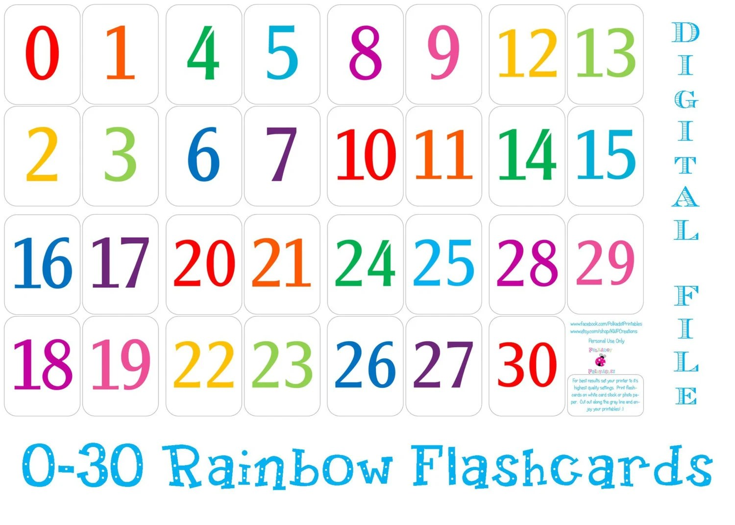 Printable 0 30 Number Flashcards Instant Download