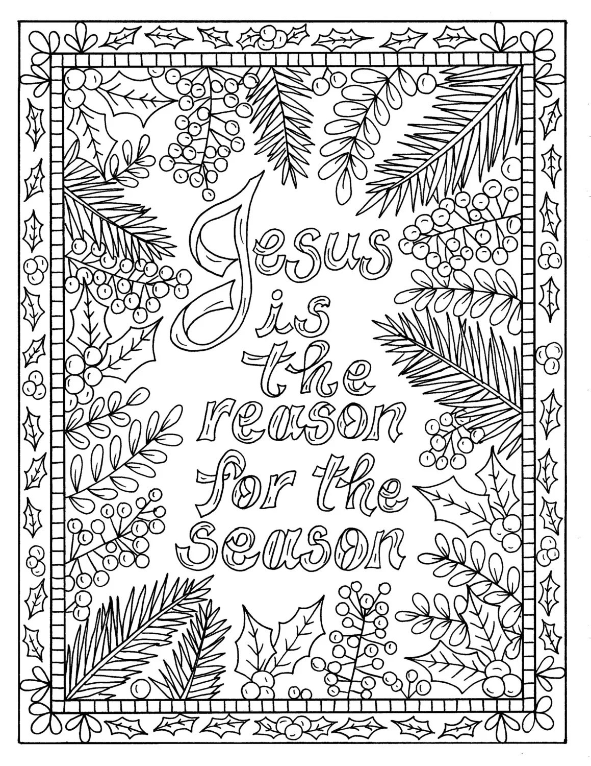 5 Christian Coloring Pages for Christmas Color Book Digital | christmas colouring pages for adults