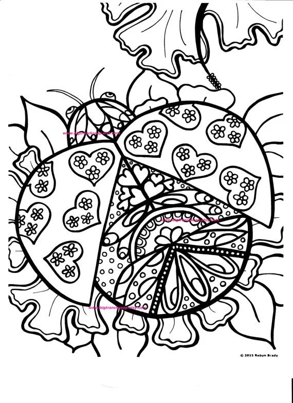 Adult Coloring Page Ladybug Hand Drawn Image Digital | free fun coloring pages for adults