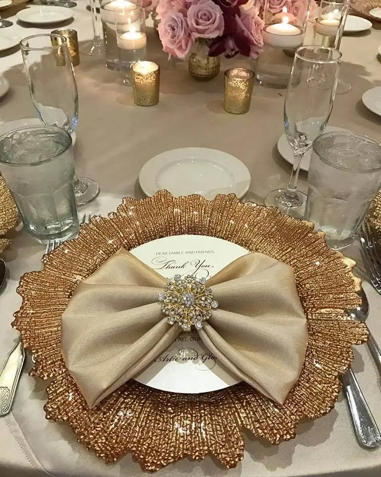 Gold Napkin Rings Bling Wedding Or Anniversary Party Napkin