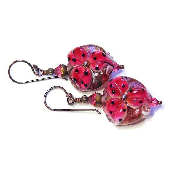 Deep Rose Pink Tiger Lily Earrings