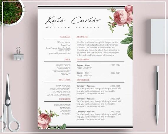 Pink Floral Resume Template Floral CV Template Vintage Roses