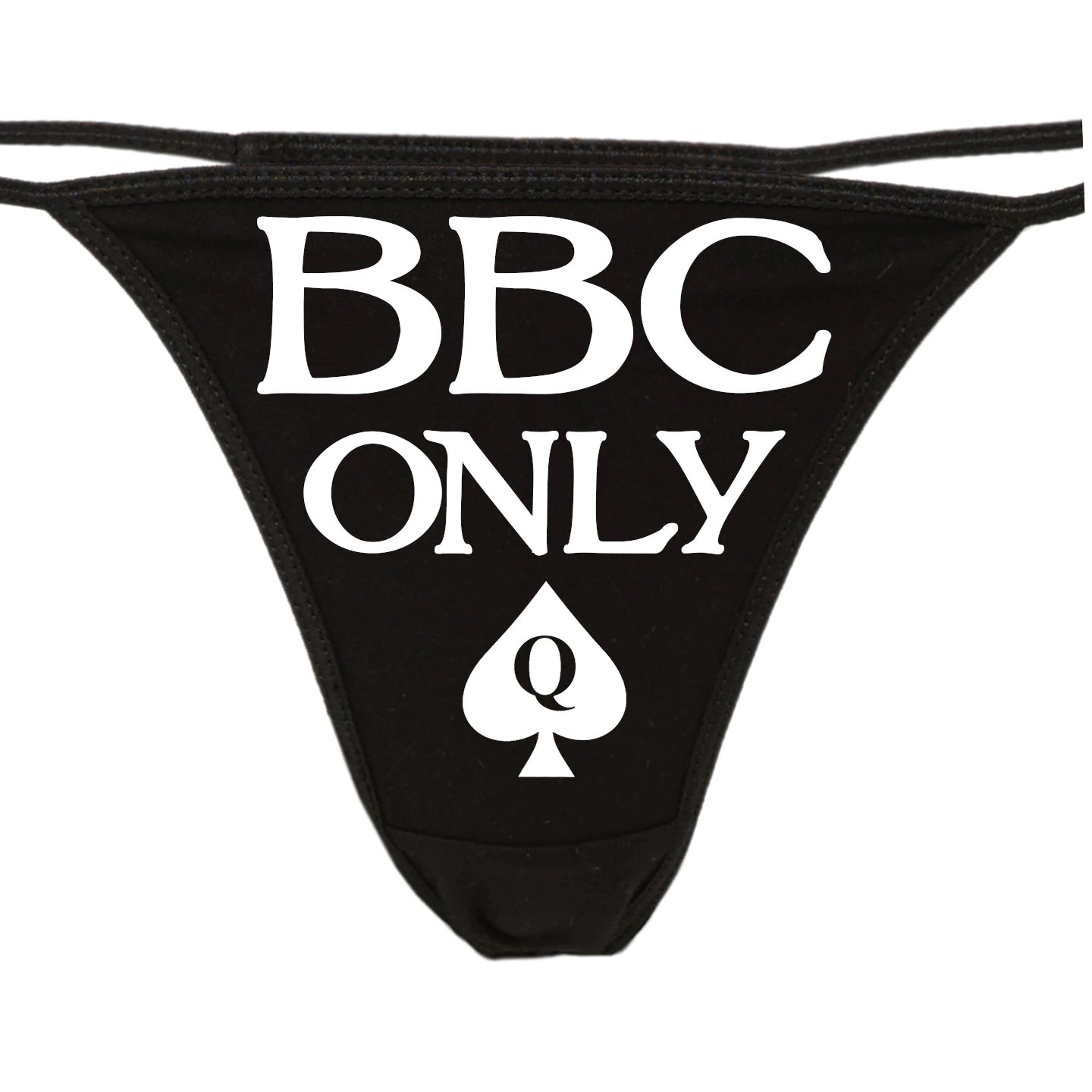 BBC ONLY Queen of Spades QofS logo on black thong lovers owned