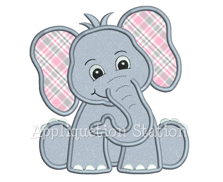 Zoo Baby Elephant Applique Machine Embroidery Design Jungle
