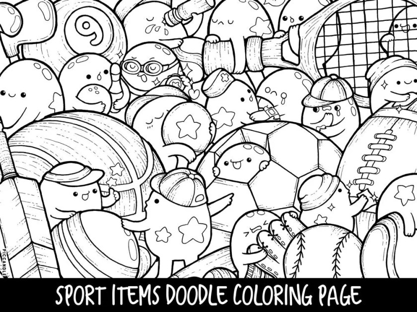 sport items doodle coloring page printable cute/kawaii