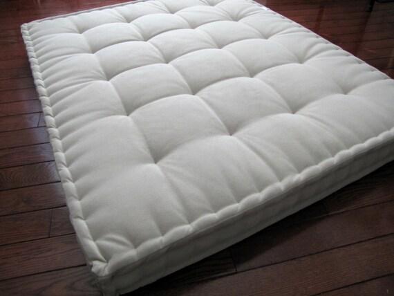 Beige Velvet Floor Pillow Reading Nook Cushion With French