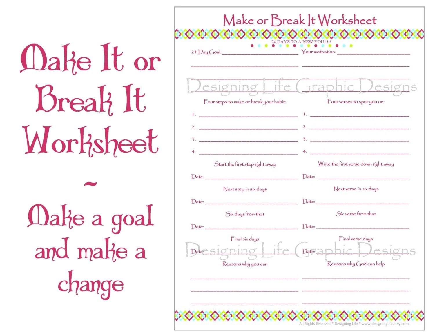 Make It Or Break It Printable Worksheets 24 Days Of Habit