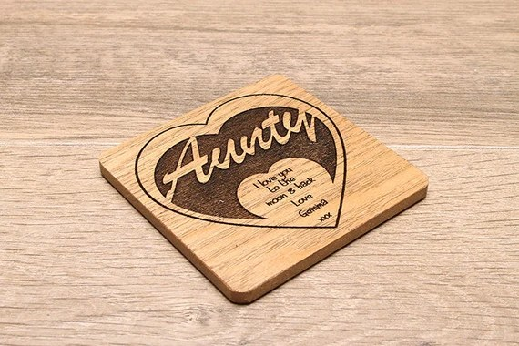 Personalised Laser Engraved Wooden Coaster