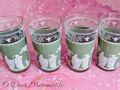 Set of Four Jeanette Hellenic Green Eight Ounce Tumblers: Roman-Greek Motif Jasperware Glasses