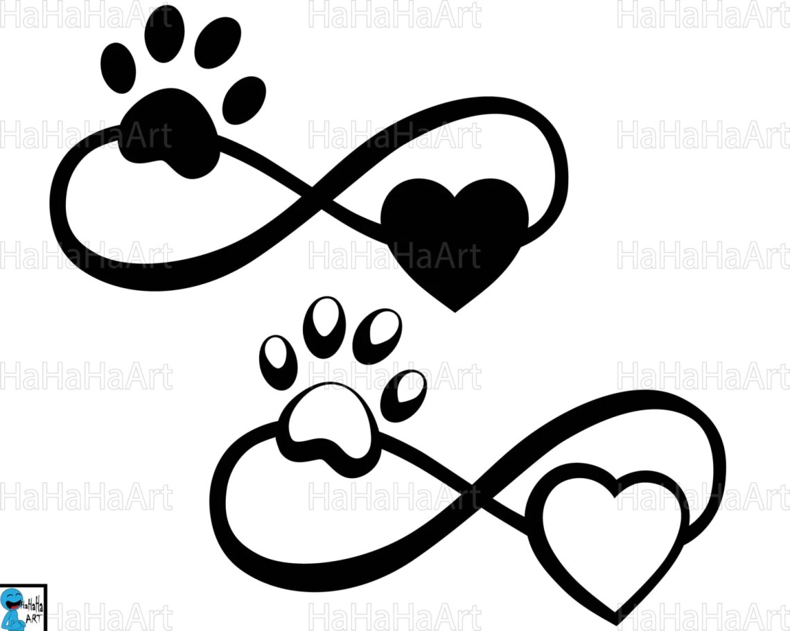 Download Infinity with paw and heart Cutting Files / Clipart Svg Png
