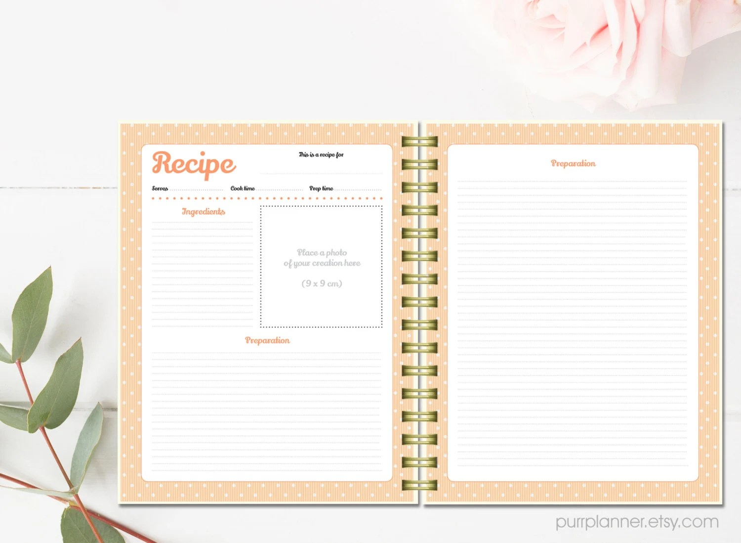 Printable Recipe Cards Personalized Recipe Binder Kit Letter