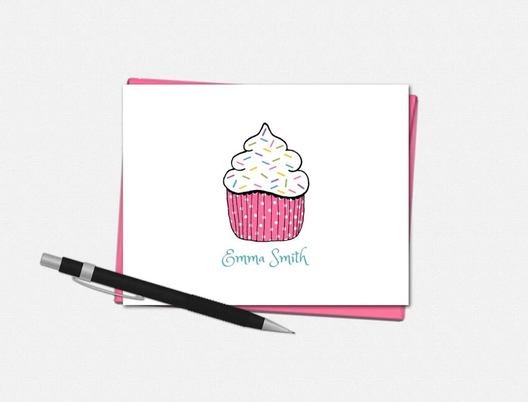 Personalized Cupcake Note...
