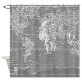 Minimalist shower curtains gopelling gray world map shower curtain and white home decor sciox Gallery