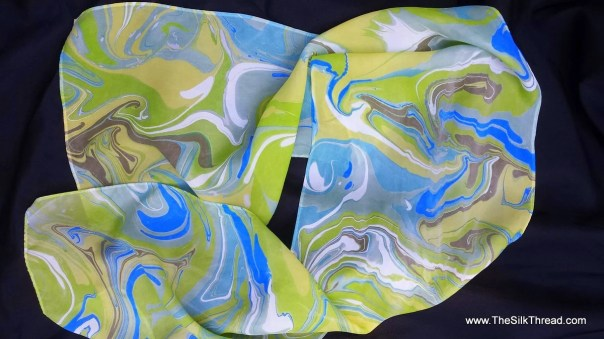 "Silk Scarf. Beautiful Colors Marbled into Silk, Abstract, Swirling Design,Blue, Green, White, Gray by Artist, 11"" x 60"" One of a Kind"