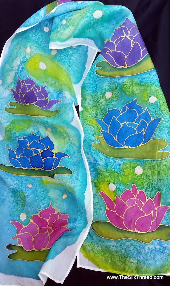 "Lotus Blossoms Silk scarf. 8"" x 54"" custom silk scarf, beautifully hand drawn in gold by artist, Gorgeous shades of blue, purple and wine"