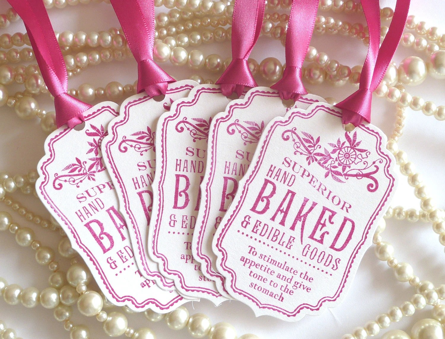 Baked Good Tags Pink Wedding Favors Fuchsia Pink Tags Food