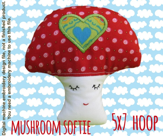 Mushroom softie - 5x7 hoop - ITH - In The Hoop - Machine Embroidery Design File, digital download