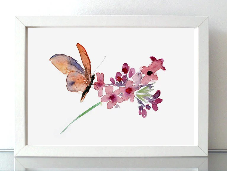Butterfly And Flower Watercolor Painting Nature Art Wall