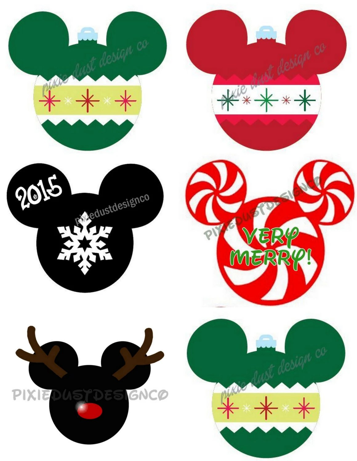 Disney Inspired Christmas Mickey Head Ornament Rudolph