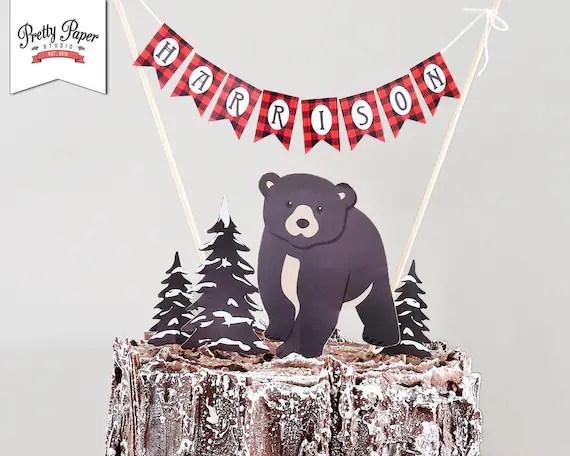 Personalized Cake Topper Baby Bear Lumberjack Instant
