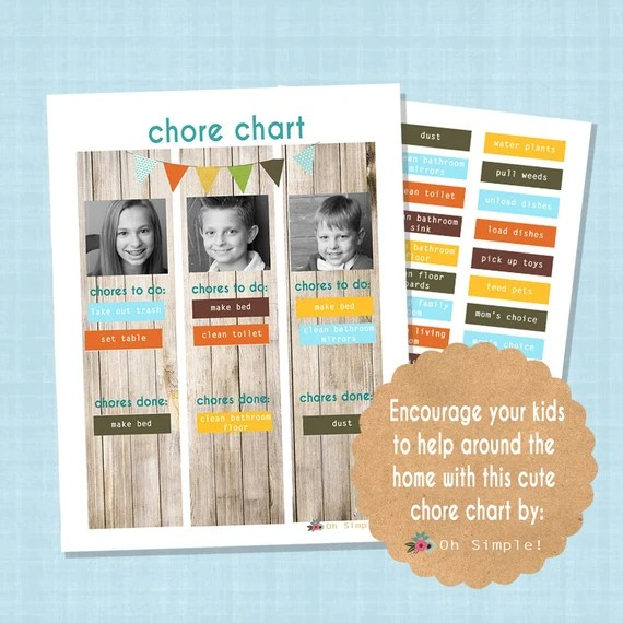 Printable Chore Chart For Multiple Kids