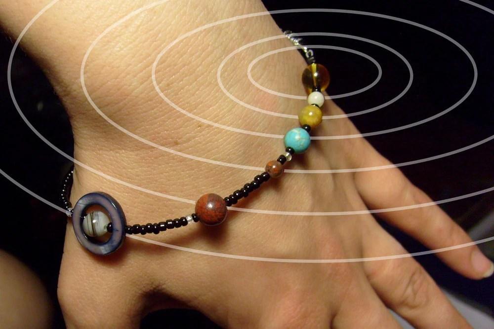 MiniVerse Solar System Bracelet Gemstone Planets 8.5in