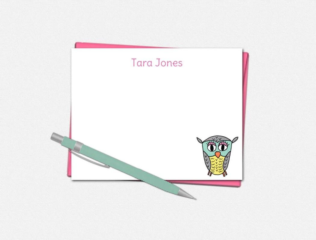 Owl Note Cards - Custom N...