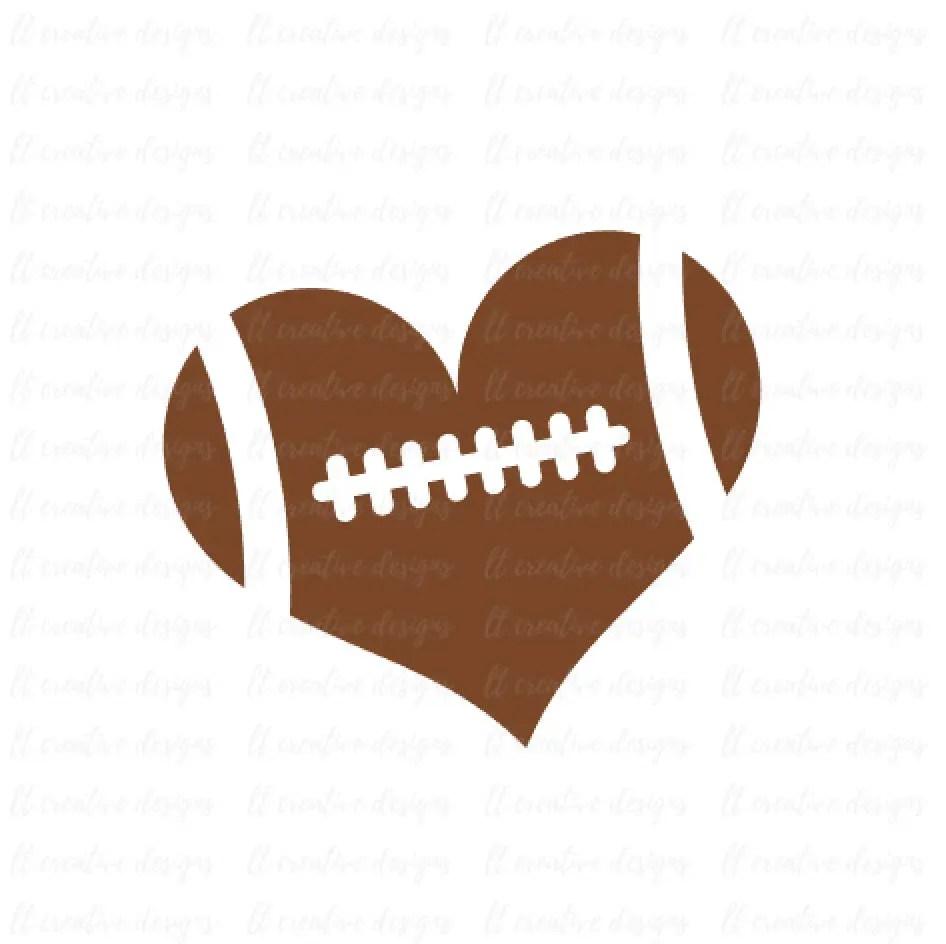 Download Football Heart Football Love SVG Football SVG Football Cut