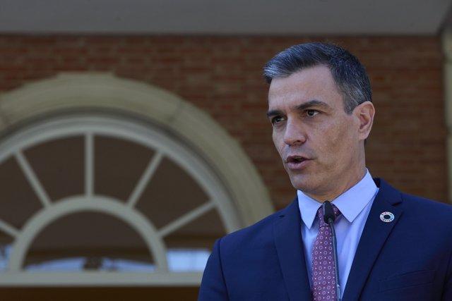El presidente del Gobierno, Pedro Sánchez, interviene en una rueda de prensa posterior a una reunión con el secretario general de las Naciones Unidas, 2 de julio de 2021, en el Palacio de La Moncloa,