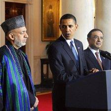 Obama con Karzai y  Zardari
