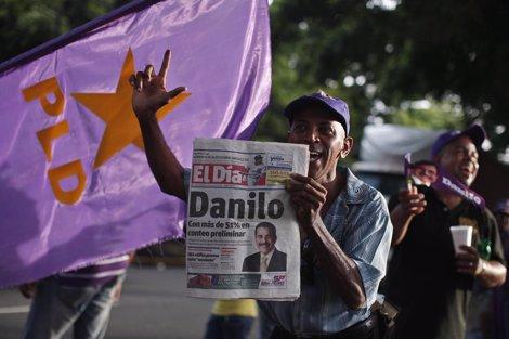 Partidarios de Danilo Medina celebran su victoria electoral en Santo Domingo
