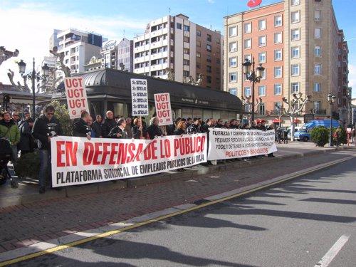 Manifestación de Plataforma policial en La Rioja junto al resto de funcionarios