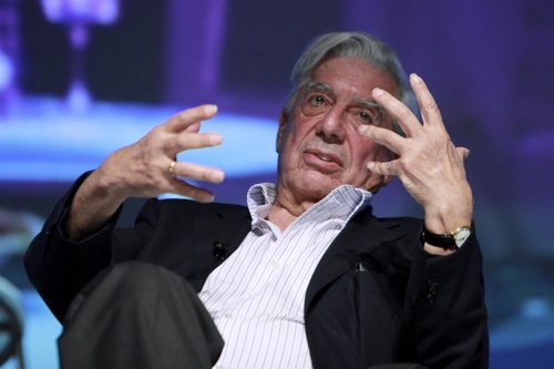 Peruvian Nobel Laureate Vargas Llosa speaks during a conference at the HAY festi
