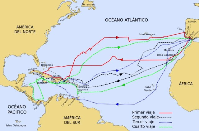 Mapa de los viajes de Cristóbal Colón