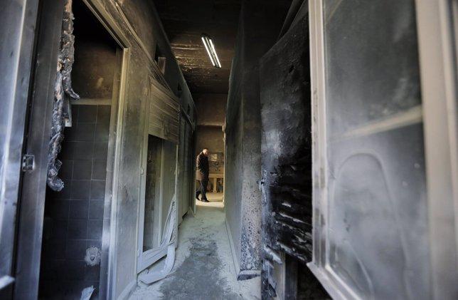 Daños provocados en una iglesia ortodoxa griega