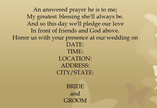 Sample 5 For Seasonal Holiday Themed Casual Wedding Invitation Wording
