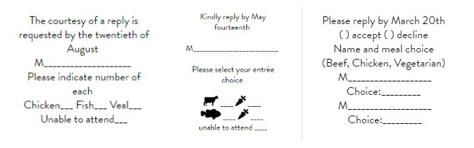 Creative Wedding Invitation With The Menu Option For Any