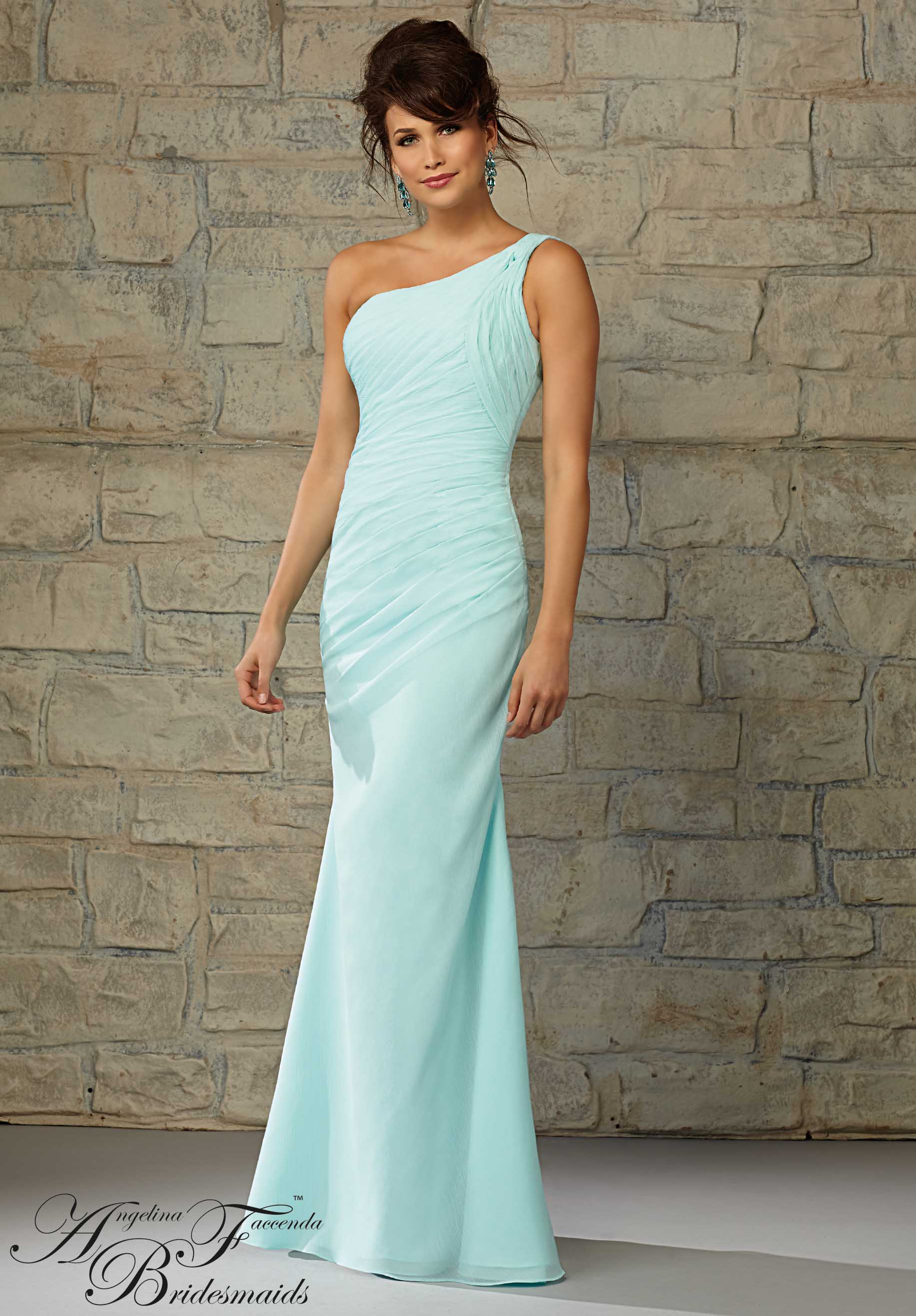 35 Figure Friendly One Shoulder Bridesmaid Dresses   EverAfterGuide Luxe Chiffon One Shoulder Gown