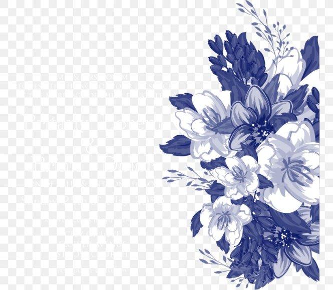 Wedding Invitation Fl Design Blue