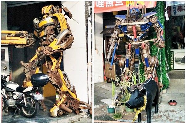 超酷!在台中街頭遇見變形金剛~廢鐵打造的酷炫柯博文和大黃蜂!
