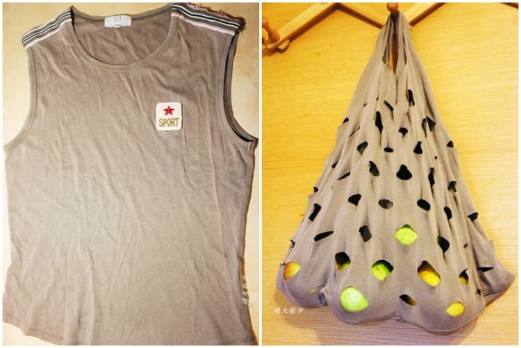 舊衣改造DIY|舊棉T變身洞洞袋,做法超簡單,購物裝水果很方便呢!