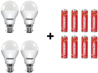 Eveready 9W LED Bulb Pack of 4 with Free 8 Batteries(White, Pack...