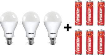 Eveready 12W LED Bulb with Free 6 Batteries(White, Pack of 3)