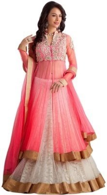429c23fb2 55% OFF on Indcrown Net Embroidered Semi-stitched Lehenga Choli Material