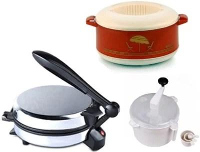 ECO SHOPEE COMBO OF EAGLE DETACHABLE Roti-MAKER, CASSEROLE AND DOUGH MAKER Roti/Khakhra Maker(Silver)