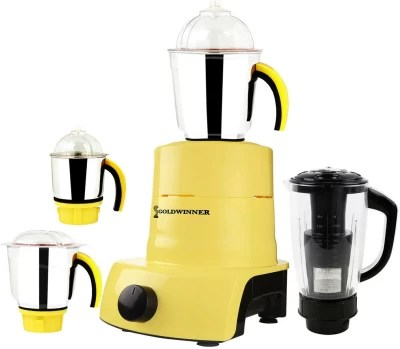 Goldwinner ABS Plastic YPMA17_442 1000 W Juicer Mixer Grinder(Yellow, 4 Jars)